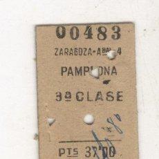 Coleccionismo Billetes de transporte: ZARAGOZA PAMPLONA TERCERA CLASE ANTIGUO BILLETE FERROCARRIL. TREN. RENFE.. Lote 97752579