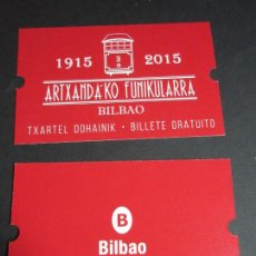Coleccionismo Billetes de transporte: BILLETE CONMEMORATIVO CENTENARIO FUNICULAR ARTXANDA BILBAO 1915 - 2015. Lote 98051735