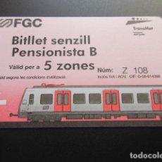 Coleccionismo Billetes de transporte: FERROCARRILES GENERALITAT - BILLETE SENCILLO PENSIONISTA B - 5 ZONAS. Lote 100422140