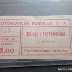 Coleccionismo Billetes de transporte: ANTIGUO BILLETE AUTOMOVILES PORTILLO MALAGA TORREMOLINOS. Lote 99215251