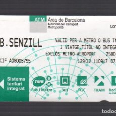 Coleccionismo Billetes de transporte: BILLETE SENCILLO USADO - AUTORITAT DEL TRANSPORT METROPOLITÀ (ÀREA DE BARCELONA) · AÑO 2017 -. Lote 99356979