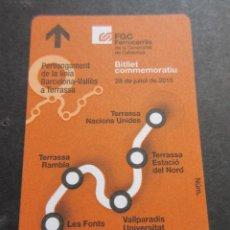 Coleccionismo Billetes de transporte: TARJETA CONMEMORATIVA PROLONGACION LINEA BARCELONA TERRASSA FERROCARRILES GENERALITAT . Lote 99437563
