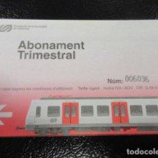 Coleccionismo Billetes de transporte: TARJETA ABONO TRIMESTRAL FERROCARRILES GENERALITAT. Lote 99785244