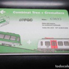 Coleccionismo Billetes de transporte: TARJETA FERROCARRILES GENERALITAT COMBINADO TREN + CREMALLERA MONTSERRAT. Lote 100168203