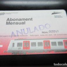 Coleccionismo Billetes de transporte: TARJETA FERROCARRILES GENERALITAT ABONO MENSUAL - MODELO 2 CON LOGO TRANSPORT METROPOLITA. Lote 100422899