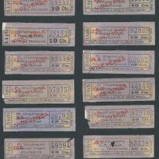 Coleccionismo Billetes de transporte: LOTE BILLETES TRANVIA BARCELONA TICKET BILLETE CAPICUA ORTEGA VALENCIA S:A:YEX.. Lote 100566095