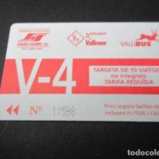 Coleccionismo Billetes de transporte: TARJETA 10 VIAJES NO INTEGRADOS V-4 - EMPRESA SOLER I SAURET . Lote 100594835