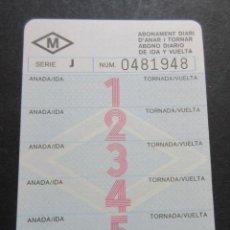 Coleccionismo Billetes de transporte: TARJETA METRO DE BARCELONA 5 VIAJES DE IDA Y VUELTA - SIN USO NUMEROS ROJOS. Lote 100598547