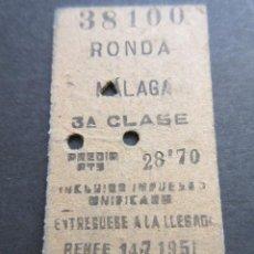 Coleccionismo Billetes de transporte: BILLETE EDMONSON RONDA MALAGA 3ª CLASE RENFE. Lote 100601107