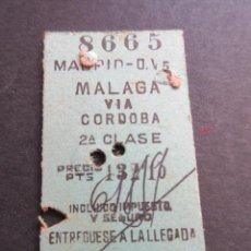 Coleccionismo Billetes de transporte: BILLETE EDMONSON MADRID MALAGA VIA CORDOBA 2ª CLASE RENFE. Lote 100601287