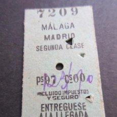 Coleccionismo Billetes de transporte: BILLETE EDMONSON MALAGA MADRID 2ª CLASE - FERROCARRIL RENFE. Lote 100601463