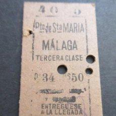 Coleccionismo Billetes de transporte: BILLETE EDMONSON PUERTO SANTA MARIA MALAGA 3ª CLASE - FERROCARRIL RENFE TREN. Lote 100601903