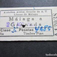 Coleccionismo Billetes de transporte: BILLETE ALSINA GRAELLS DE A.T. LINEAS DE MALAGA - MALAGA A GRANADA . Lote 100602039