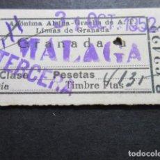 Coleccionismo Billetes de transporte: BILLETE ALSINA GRAELLS DE A.T. LINEAS DE GRANADA - GRANADA A MALAGA TERCERA. Lote 100602075