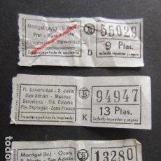 Coleccionismo Billetes de transporte: LOTE 3 BILLETES DIFERETEN EMPRESA TB TRANVIAS TRANSPORTES BARCELONA - VER TRAYECTOS. Lote 101135691