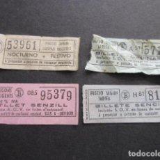 Coleccionismo Billetes de transporte: LOTE 4 BILLETES DIFERETEN EMPRESA TB TRANVIAS TRANSPORTES BARCELONA - . Lote 101135719
