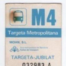 Coleccionismo Billetes de transporte: (ALB-TC-9) BONO BUS AUTOBUS TARGETA METROPOLITANA BARC ELONA JUBILAT. Lote 101401955