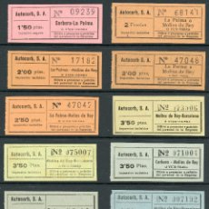 Coleccionismo Billetes de transporte: (L212) 13 BILLETES DE AUTOCORB, S.A. // CORBERA, LA PALMA, MOLINS DE REY, BARCEL // AÑOS 40/50 // T8. Lote 152057544
