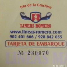Coleccionismo Billetes de transporte: BILLETE MARÍTIMO LÍNEAS ROMERO. Lote 102629335