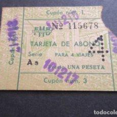 Coleccionismo Billetes de transporte: TARJETA ABONO 4 VIAJES FERROCARRIL METROPOLITANO TRANSVERSAL BARCELONA 1 PESETA. Lote 102928547
