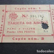 Coleccionismo Billetes de transporte: TARJETA ABONO 4 VIAJES FERROCARRIL METROPOLITANO TRANSVERSAL BARCELONA 1 PESETA. Lote 102928599