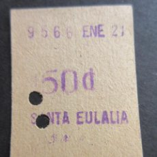 Coleccionismo Billetes de transporte: BILLETE FERROCARRIL METROPOLITANO TRANSVERSAL BARCELONA 50 CENTIMOS PARADA SANTA EULALIA. Lote 102930787