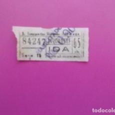 Coleccionismo Billetes de transporte: ANTIGUO BILLETE DE TRANSPORTE URBANO DE MALAGA 65 CENTIMOS . Lote 103475011