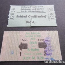 Coleccionismo Billetes de transporte: LOTE 2 ANTIGUO BILLETES ALEMANIA BERLIN 1 DE METRO // LEER INTERIOR - ARD-002. Lote 103762051