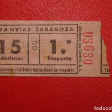 Coleccionismo Billetes de transporte: BILLETE TRANVÍA ZARAGOZA CAPICÚA. , 1946 15 CTS. B 41. Lote 104185687