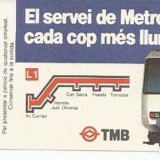Coleccionismo Billetes de transporte: BILLETE METRO, F.C. METROPOLITA BARCELONA TMB, L1. Lote 104297783