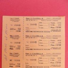 Coleccionismo Billetes de transporte: HOJA CON 4 BILLETE DE AUTOBUS - BUS - J. CASTELLA - LLEIDA A TERMENS - COLOR NARANJA .. R-7786. Lote 105102707
