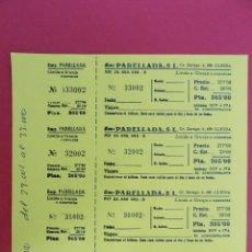 Coleccionismo Billetes de transporte: HOJA CON 4 BILLETE DE AUTOBUS - BUS - PARELLADA, S.L - LLEIDA A GRANJA D'ESCARP - AMARILLO . R-7790. Lote 105103335