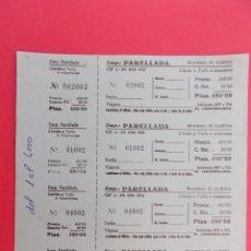 Coleccionismo Billetes de transporte: HOJA CON 4 BILLETE DE AUTOBUS - BUS -EMPRESA PARELLADA - LLEIDA A VALLS - GRIS AZULADO... R-7795. Lote 105105135