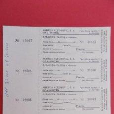 Coleccionismo Billetes de transporte: HOJA CON 4 BILLETE DE AUTOBUS - BUS - AGREDA AUTOMOVIL,S.A - ZARAGOZA A LLEIDA - BLANCA... R-7796. Lote 105105295
