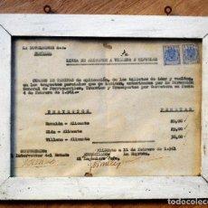 Coleccionismo Billetes de transporte: LISTA DE PRECIOS LA NOVELDENSE LÍNEA DE ALICANTE A VILLENA E HIJUELAS - AÑO 1961 - ENMARCADO. Lote 105234079