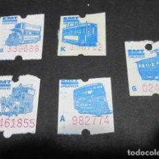 Coleccionismo Billetes de transporte: LOTE 5 BILLETES AUTOBUSES DE VALENCIA EMT E.M.T.. Lote 106780851
