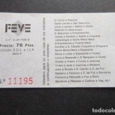 Coleccionismo Billetes de transporte: BILLETE FEVE 70 PTAS. - PEDROSO BARREIROS RIBADEO FERROL LAMAS CERDIDO - RENFE FERROCARRIL TREN. Lote 107198175