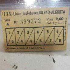 Coleccionismo Billetes de transporte: BILBAO ALGORTA BILLETE TROLEBUS BIEN CORSEVADO. Lote 107666435