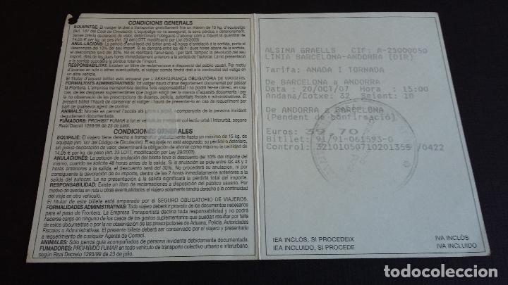 Coleccionismo Billetes de transporte: BILLETE AUTOBUS - ALSINA GRAELLS - BARCELONA / ANDORRA ( 2007 ) #SC - Foto 2 - 107792279
