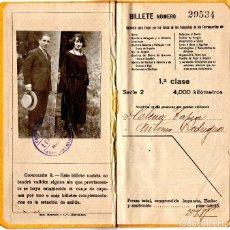 Coleccionismo Billetes de transporte: FERROCARRILES BILLETE KILOMÉTRICO TARIFA 109 SERIE 2 1º CLASE 4000 KM - FECHADO 1923. Lote 108057911