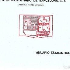 Coleccionismo Billetes de transporte: F.C.METROPOLITANO DE BARCELONA. ANUARIO 1975. Lote 108444683