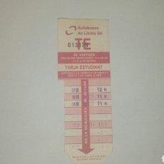 Coleccionismo Billetes de transporte: BONO 10 VIAJES ESTUDIANTE BUS LLEIDAEMPRESA AUTOBUSOS DE LLEIDA SA. Lote 109092515