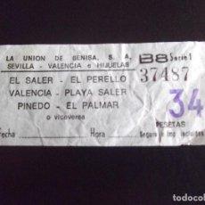 Coleccionismo Billetes de transporte: TRANSPORTE-V37-LA UNION DE BENISA-EL SALER-EL PERELLO-VALENCIA. Lote 109145795
