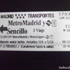 Coleccionismo Billetes de transporte: TRANSPORTE-V37-METRO-MADRID-BILLETE SENCILLO 2010. Lote 109147767
