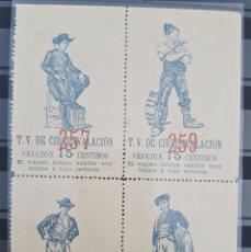 Coleccionismo Billetes de transporte: ANTIGUO BILLETE DE TRANVIA T.V DE CIRCUNVALACION 1890S CON PUBLICIDAS. Lote 109909291