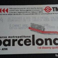 Coleccionismo Billetes de transporte: BILLETE METRO BARCELONA - TARJETA MAGNÉTICA - TMB - T4 - DISSENY QUOTIDIÀ CEPILLO - PUB. TMB. Lote 109970423