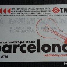 Coleccionismo Billetes de transporte: BILLETE METRO BARCELONA - TARJETA MAGNÉTICA - T4 - DISSENY QUOTIDIÀ BOMBILLA - PUB. TMB. Lote 109978903