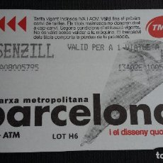 Coleccionismo Billetes de transporte: BILLETE METRO BARCELONA - TARJETA MAGNÉTICA - BITLLET SENZILL- DISSENY QUOTIDIÀ CUCURUCHO - PUB. TMB. Lote 109994535