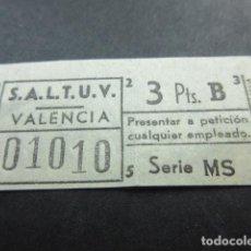 Coleccionismo Billetes de transporte: BILLETE EMPRESA S.A.L.T.U.V. VALENCIA CAPICUA CAPICUAS - 3 PESETAS. Lote 110029071