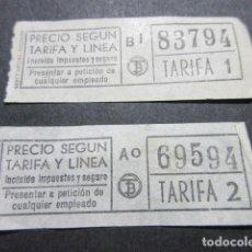 Coleccionismo Billetes de transporte: LOTE 2 BILLETES DIFERENTES TARIFAS 1 Y 2 TB TRANSPORTES BARCELONA. Lote 115608011